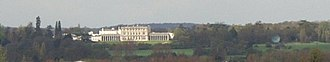 Caversham Park - Caversham Park from the distance (also note the BBC satellite dish on the right)