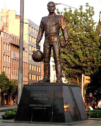 Battle of Tillyria - Statue of Turkish pilot, Cengiz Topel in Eskişehir, one of the pilots sent by Turkey to bomb positions in the Republic of Cyprus.