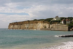 Chalk cliffs with a thick layer of loess The b...