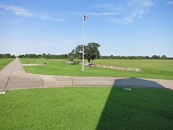 Photo shows the Chalmette Battlefield in New Orleans, looking NE from the monument.
