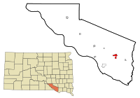 Charles Mix County South Dakota Incorporated and Unincorporated areas Wagner Highlighted.svg