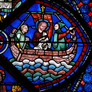 Nilakkal - A stained glass painting depicting St.Thomas's sea voyage at Chartres Cathedral, France