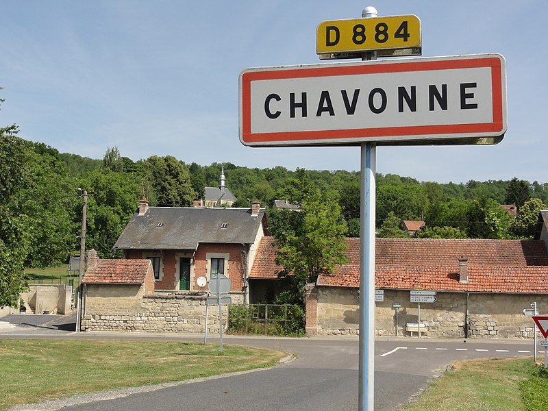Chavonne (Aisne) city limit sign