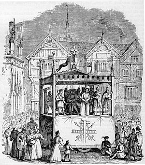 Medieval theatre - Nineteenth-century engraving of a performance from the Chester mystery play cycle.