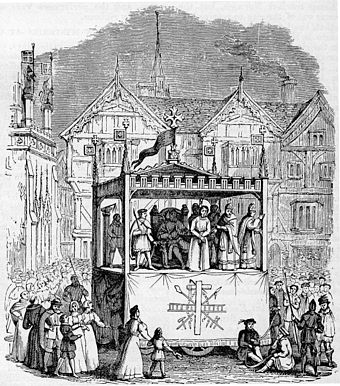 Nineteenth-century engraving of a performance from the Chester mystery play cycle.