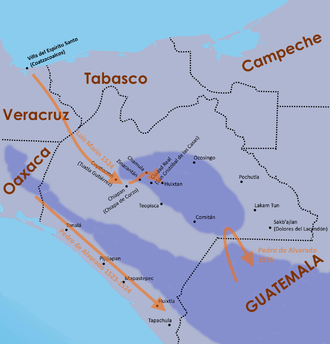 Early entry routes to Chiapas, 1523-1525 Chiapas conquest routes 1523 to 1525.png