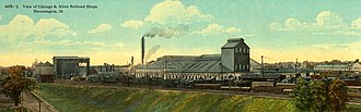 Alton Railroad - Postcard depiction of the railroad's Bloomington shops.
