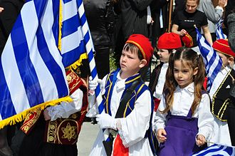 Ouranoupoli - The 25th of March, Independence Day. Children parade in Ouranopolis.