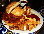 Chili burger with fries