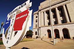 Texarkana Post Office, located in two states.