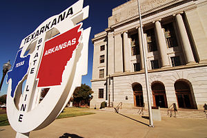 Texarkana metropolitan area - Texarkana Post Office, located in two states.