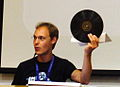 Christoph Zimmerman with vinyl disk at Wikimania 2013.JPG