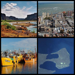 Clockwise from top: Valley of the Chubut River, Comodoro Rivadavia, Valdés Peninsula, Rawson Port.