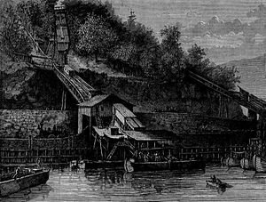 Mauch Chunk Switchback Railway - Engraving published in Harper's Weekly, February 1873 of same area from similar obtuse angle, but also from downstream-perhaps viewed from the uppermost locks of the lower canal. The date indicates this is at or near the end of use of the Railroad as a coal carrier, for the Hauto Tunnel and the Panther Creek Railroad would by this date be hauling most of the coal.