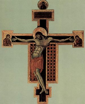 Crucifix (Cimabue, Santa Croce) - Cimabue's Arezzo crucifix, c. 1268–1271. This is the earlier of the two extant crucifixes attributed to him.