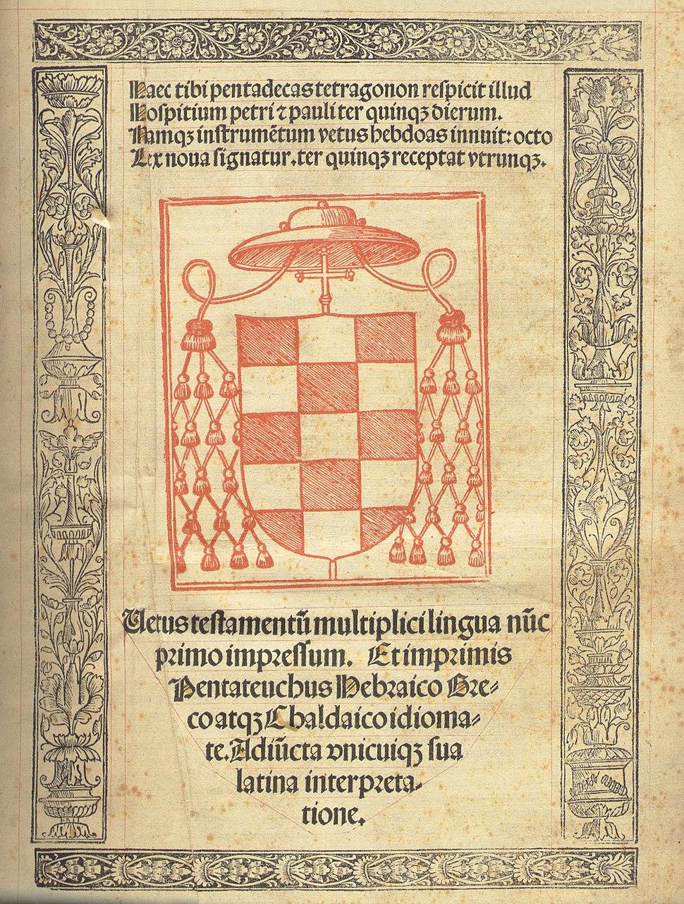 Cisneros' original complutensian polyglot Bible -1
