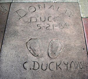 "Clarence Nash - Nash left Donald's ""footprints"" at the Chinese Theater in Hollywood."