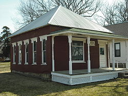 Coal Creek Library in Vinland (ca. 1900), the oldest subscription library in Kansas. Listed on the National Register of Historic Places.