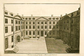 "College of Arms - The College of Arms, as it looked in the 18th century, engraved by Benjamin Cole, and published in William Maitland's ""The History and Survey of London From Its Evolution to the Present Time"" in 1756"