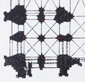 Cologne Cathedral floor plan Hasak 1911, south tower with crane position marked.png
