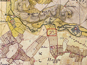 Spaubeek - The old centre of Spaubeek (framed in red) on a map by Tranchot and Von Müffling from 1803