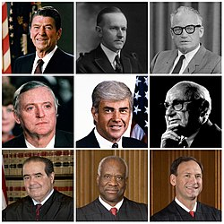 This is a collage of prominent leaders in the conservative movement in the United States. Clockwise from the top center: Calvin Coolidge, Barry Goldwater, Milton Friedman, Samuel Alito, Clarence Thomas, Antonin Scalia, William F. Buckley Jr. and Ronald Reagan, with Jack Kemp in the center.