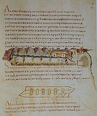 Corpus Agrimensorum Romanorum - A page from the Codex Guelfferbytanus. One illustration shows a perspective view of a house, and the other, the boundaries of the property.