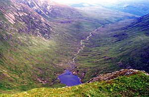Sròn a' Choire Ghairbh - Looking down into Coire Glas from the summit.