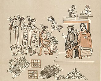 "Depict of Hernan Cortes and his bilingual cultural translator, Dona Marina (""Malinche""), meeting Moctezuma II from the Lienzo de Tlaxcala. This historical document was created c. 1550 by the Tlaxcalans to remind the Spanish of their loyalty and the importance of Tlaxcala during the conquest of the Aztec Empire. Cortez & La Malinche.jpg"