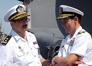 Azerbaijani Navy - Vice Admiral Kevin Cosgriff, commander, U.S. Naval Forces Central Command, meets with Vice Admiral Shahin Sultanov in Baku, Azerbaijan