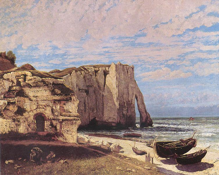 Гюстав Курбе. Скалы в Этрета. 1870