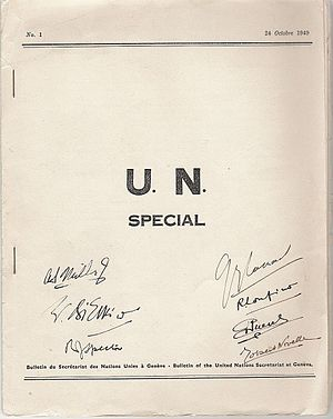 UN Special (magazine) - Cover of the first issue of the UN Special, 1949.