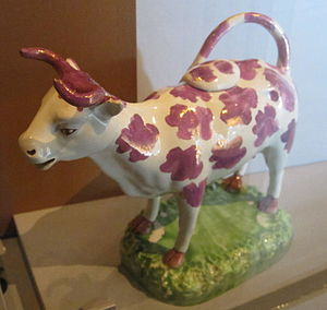 "Cambrian Pottery - Cow creamer, 1820-40, ""possibly Cambrian Pottery"""