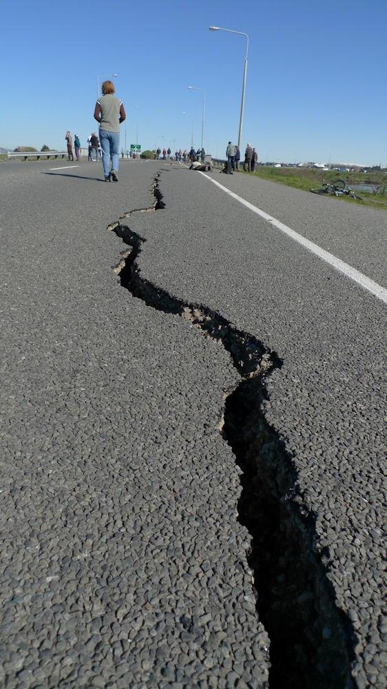 Crack in Bridge Street from the 2010 Canterbury earthquake