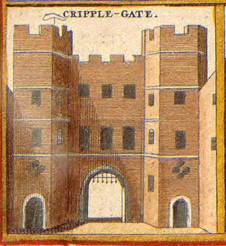 Cripplegate - An illustration of the gate, c. 1650.