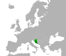 Kingdom of Croatia and Dalmatia (dark green) in 1260