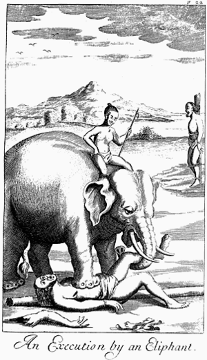 Execution by elephant - A condemned prisoner being dismembered by an elephant in Ceylon. Illustration from An Historical Relation of the Island Ceylon by Robert Knox (1681).