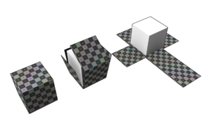UV mapping - A representation of the UV mapping of a cube. The flattened cube net may then be textured to texture the cube.