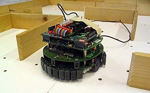 Robot in a wooden maze