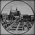 """Détail Assiette """"Abbaye de Saint-Jacques à Liège"""",Faïence fine, décor à l'impression noire, B. Lammens et cie,1807-1823,Inv.MCA.1883.jpg"""