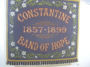 Temperance movement in the United Kingdom - Band of Hope Banner located in the village of Constantine in Cornwall supporting temperance.