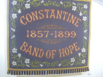 Temperance movement - Band of Hope banner in the village of Constantine in Cornwall supporting temperance