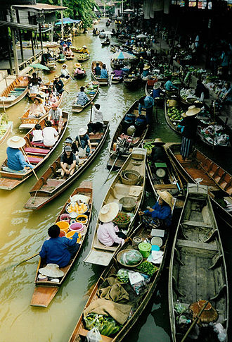 Waterway - A floating market on one of Thailand's waterways