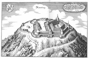 Rothenberg Fortress - The earlier castle on the Rothenberg (Matthäus Merian: Topographia Franconiae, 1648)