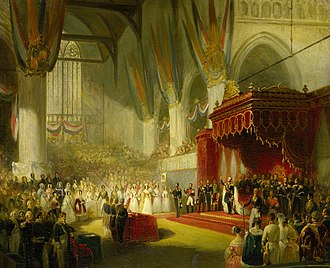 Inauguration of the Dutch monarch - A painting by Nicolaas Pieneman depicting King William II swearing the oath during his inauguration on 28 November 1840