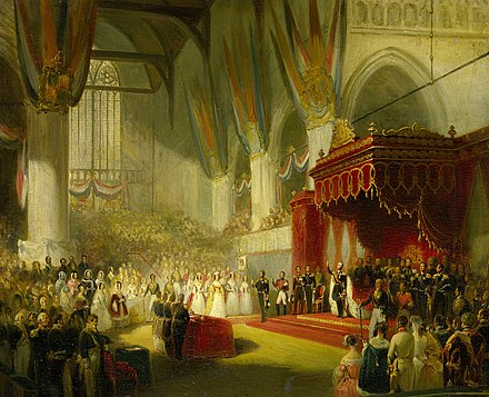 The inauguration of William II on 28 November 1840, by Nicolaas Pieneman De inhuldiging van koning Willem II in de Nieuwe Kerk te Amsterdam, 28 november 1840 Rijksmuseum SK-A-3852.jpeg