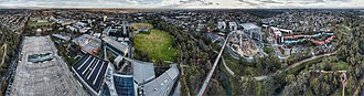 Gardiners Creek Trail - Aerial perspective of Gardiners Creek and trail cutting across the Deakin University Burwood campus. Shot September 2018. Altitutude: 110m.