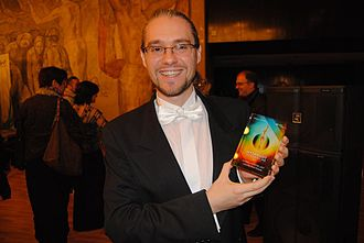 "432 Chamber Orchestra - The conductor Ivan Yanakiev with the ""Debut of the year 2015"" prize"