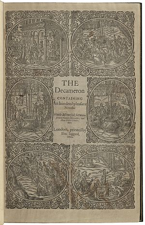 All's Well That Ends Well - A copy of Boccaccio's The decameron containing an hundred pleasant nouels. Wittily discoursed, betweene seauen honourable ladies, and three noble gentlemen, printed by Isaac Jaggard in 1620.