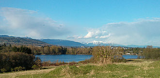 Deer Lake (British Columbia) - Deer Lake, as seen from a hill southwest of the lake on April 16, 2013.